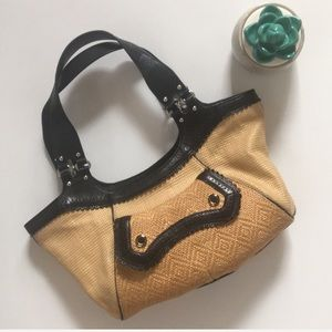 Cole Hann | weave straw and leather shoulder bag